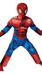 Child Deluxe Ultimate Spiderman Fancy Dress Costume includes muscle-chest jumpsuit and snood