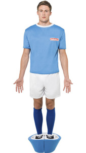 Subbuteo Blue Strip Costume includes top, shorts, socks and padded base.