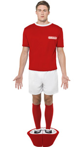 Subbuteo Red Strip Costume includes top, shorts, socks and padded base.