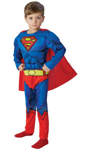 It takes big muscles to be faster than a speeding bullet or more powerful than a locomotive - and that�s what this padded Superman gives you! Inspired by the original DC Comic strips, you'll look and feel like the cartoon original!
