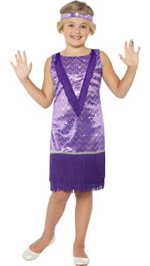 Child Flapper Costume Purple, Includes Dress and Headband