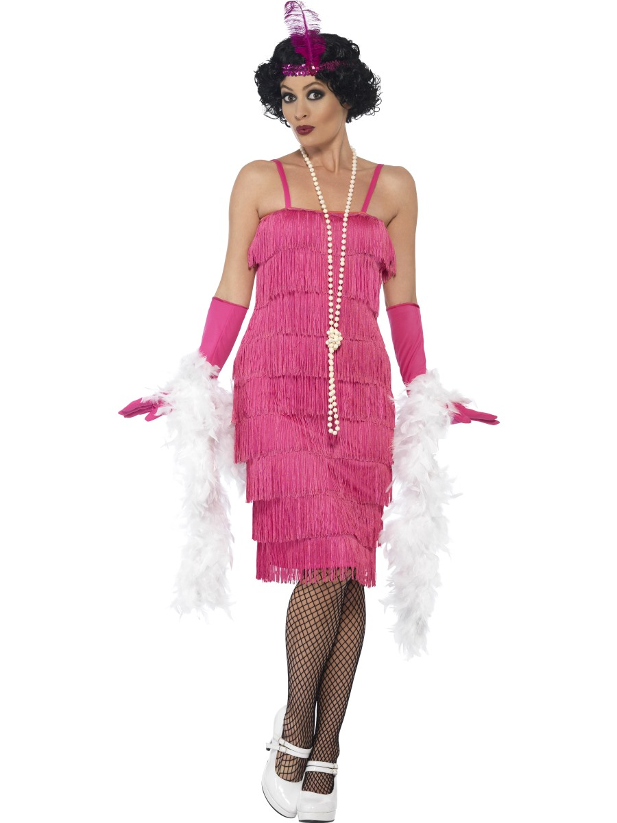 Long Flapper Costume Pink Fancy Dress Costumes & Party Supplies ...