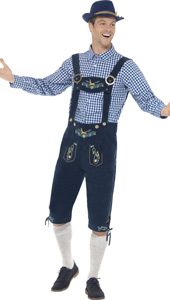 Traditional Deluxe Rutger Bavarian Costume includes lederhosen and shirt.