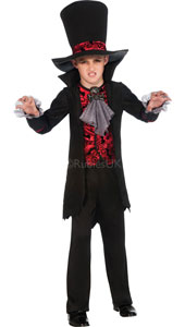 Vampire Lord Costume. Contains Jacket with attached vest and jabot, brooch, trousers and oversized hat
