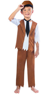 Victorian Boy Costume includes Top with attached Waistcoat, Trousers and Hat