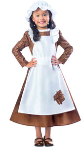 Victorian Girl Costume includes Top with attached Apron and  Hat