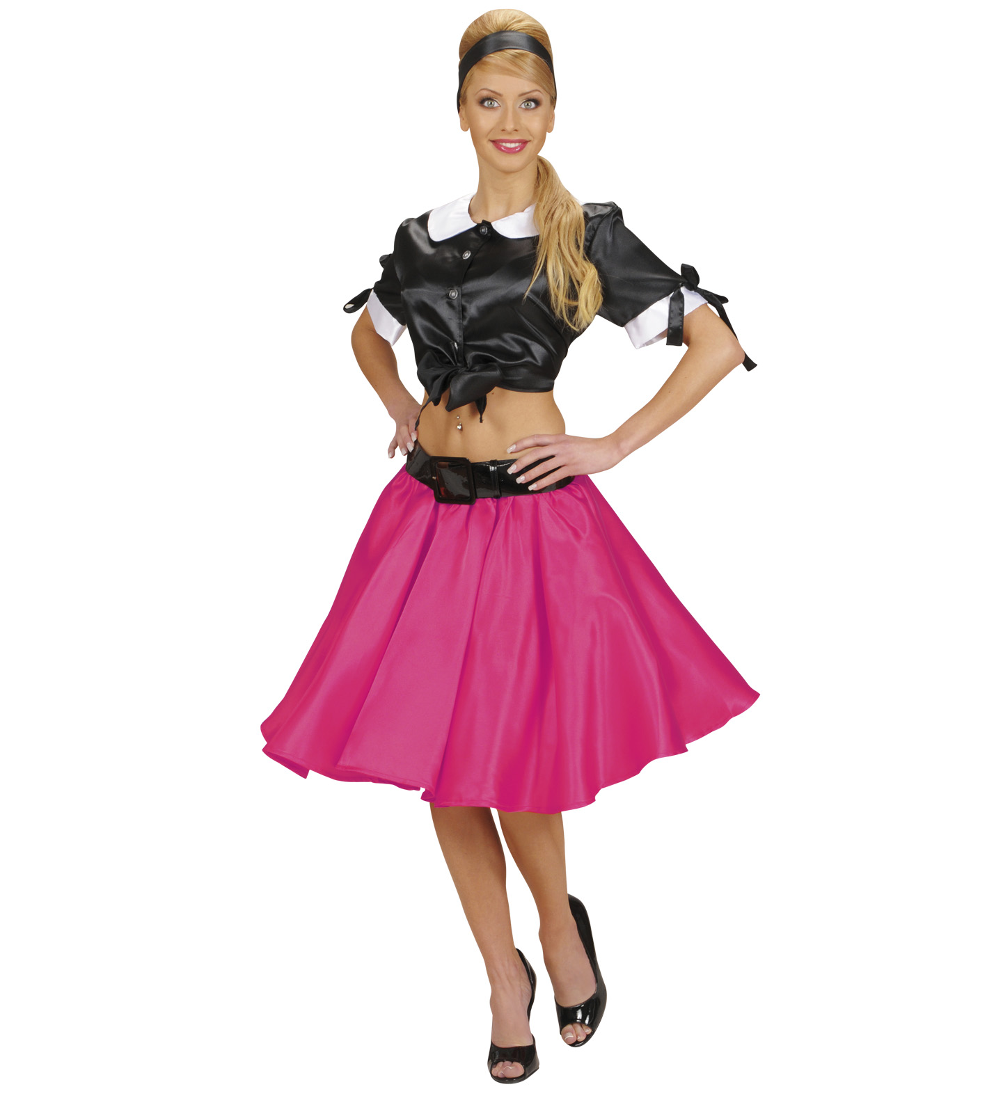 Pink Satin Rock n Roll Skirt Fancy Dress Costumes & Party Supplies ...