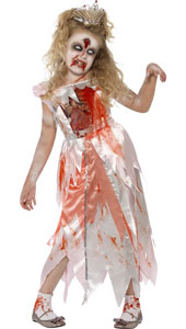 Zombie Sleeping Princess Girls Halloween Costume, includes pink blood-stained costume with printed chest piece.